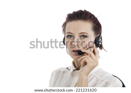 Woman customer service worker, call center smiling operator with phone headset - stock photo