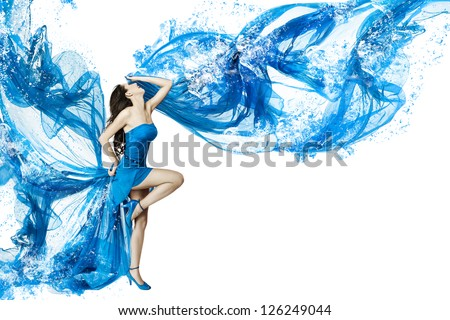 Woman dance in blue water dress dissolving in splash. Isolated white. - stock photo