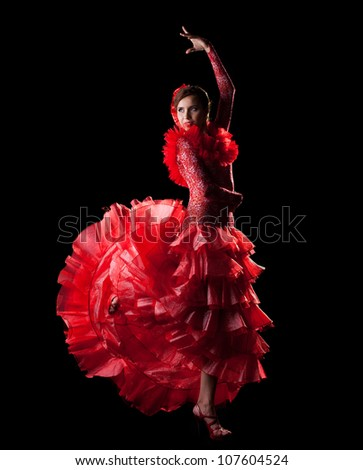 woman dance spain flamenco in red oriental costume - stock photo