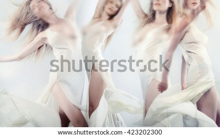 woman dancer posing with elegance - stock photo