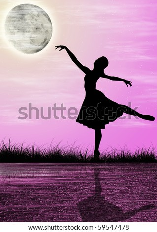 Woman dancing at night - stock photo