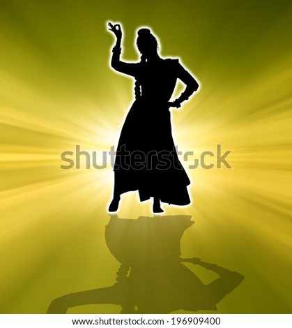 Woman dancing indian dance at sunset - stock photo