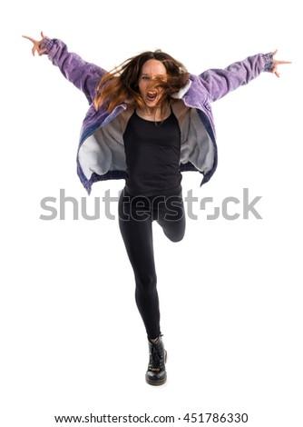 Woman dancing urban dance - stock photo
