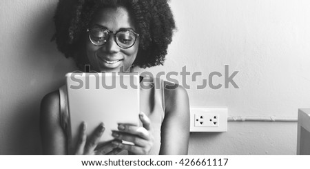 Woman Digital Tablet Social Media Networking Technology Concept