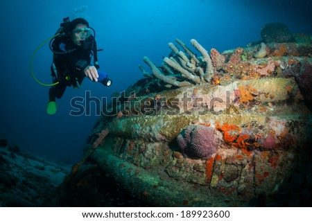 Woman diver examines a wreck on the Front Porch dive site, Bonaire, Netherlands Antilles - stock photo