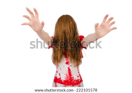 Woman doctor covered in blood in halloween concept - stock photo
