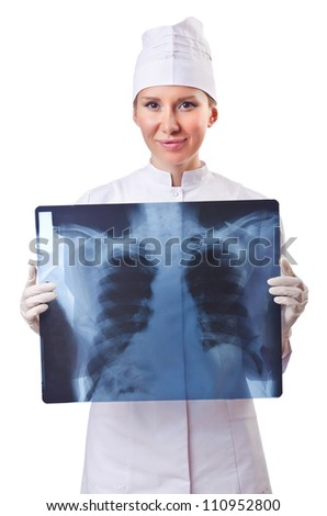 Woman doctor examining x-ray on white - stock photo