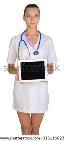 Woman doctor holding a tablet. Isolated on white background