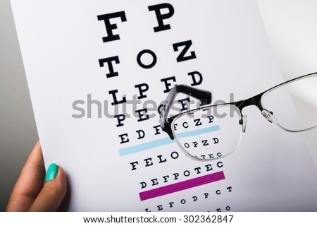 Woman doctor holding eye glasses and exam chart