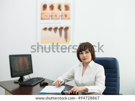 Woman Doctor Dressing Gown Table Work Stock Photo (Royalty Free ...