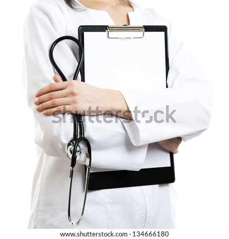 Woman doctor isolated with empty blank clipboard - stock photo
