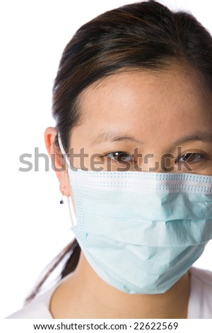 Woman doctor nurse isolated against white background