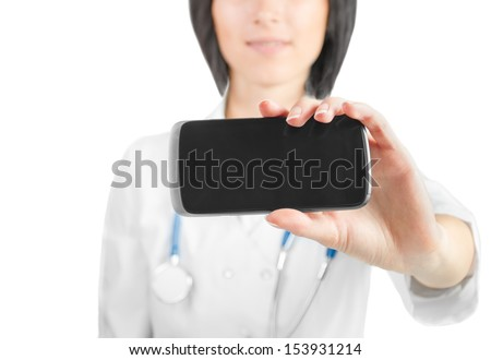 Woman doctor showing phone screen close-up. Medical center worker - stock photo