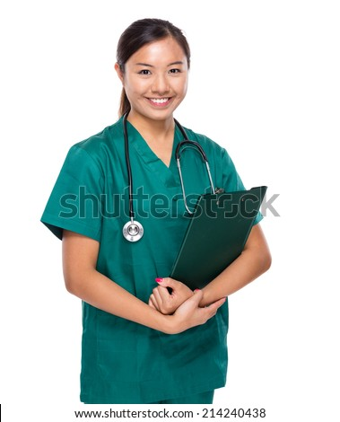 Woman doctor with clipboard
