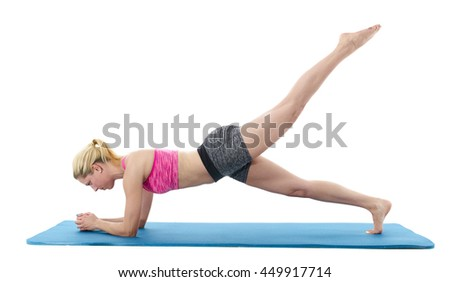 Woman doing  abdominal  and belt muscles stretching exercises isolated on a white background. - stock photo