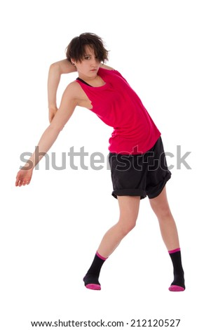 Woman doing exercise isolated over white background