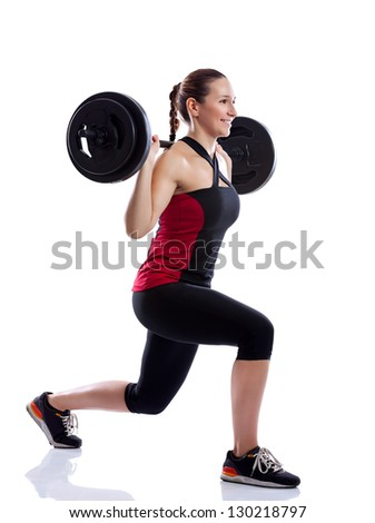 Woman doing exercise with a weight isolated over white background