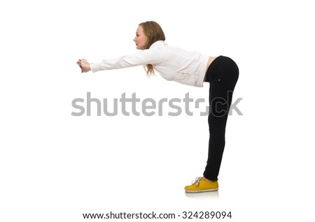 Woman doing exercises isolated on white