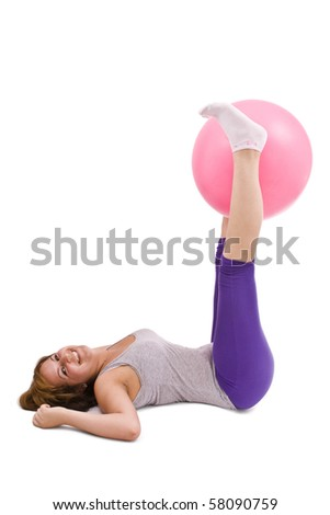 Woman doing fitness exercise, isolated in white - stock photo