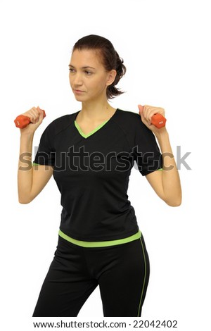 Woman doing fitness exercise, isolated on white
