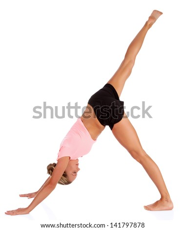 woman doing fitness exercise, white background, copyspace  - stock photo