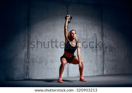 Woman doing Kettlebell Overhead Exercise