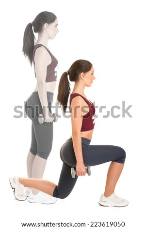 Woman doing lunges isolated in a white background - stock photo