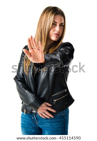 Woman doing NO gesture