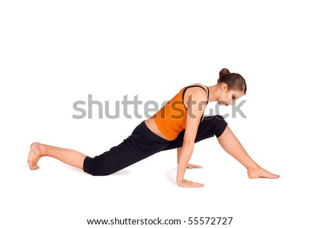 woman doing yoga exercise called cow stock photo 55572730