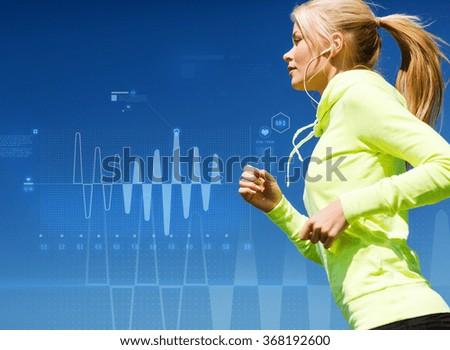 woman doing running outdoors - stock photo