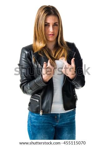 Woman doing surprise gesture - stock photo