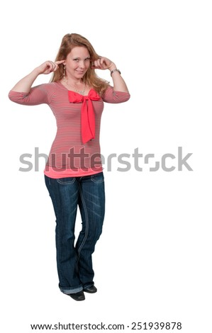 Woman doing the traditional hear no evil gesture - stock photo