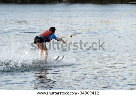 Woman doing water-ski - stock photo