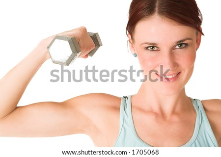 Woman doing weight lifting.