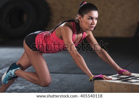 woman doing workout in  the gym