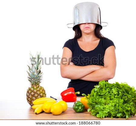 Woman don�´t want to cook - stock photo