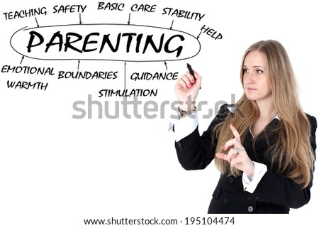 woman drawing plan of  parenting