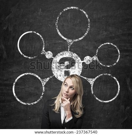 woman dreams about problem scheme, close up - stock photo
