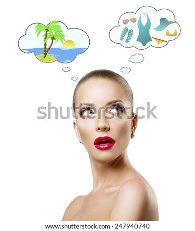woman dreams about rest on the islands - stock photo