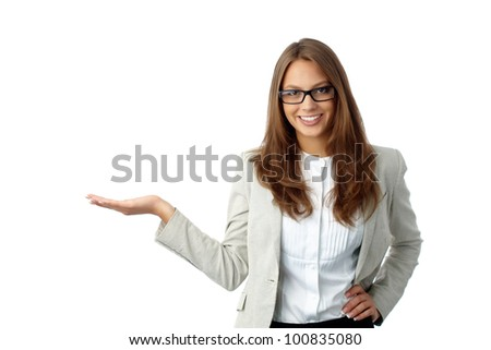 Woman dressed formally presenting the product to the viewer