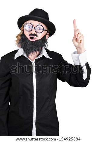 Woman Dressed Like Man With Fake Beard And Mustache Pointing Finger Upwards