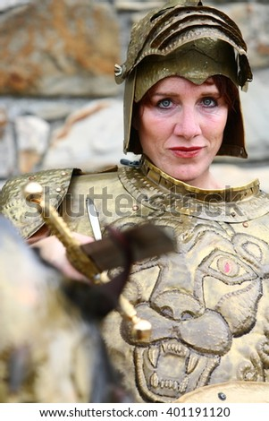 woman dressed up in suit of armor/ suit of armor/ woman dressed up in suit of armor for fun