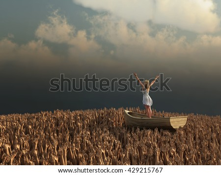 woman drifting through the sea of human hands, 3d illustration