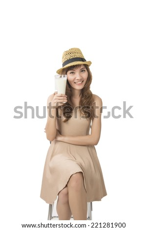 woman drink a glass of milk on white  - stock photo