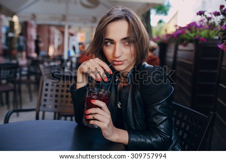 woman drink cocktail - stock photo