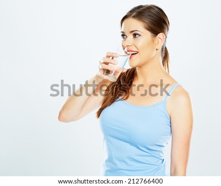 woman drink water with glass . white background isolated . - stock photo