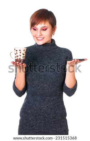 Woman drinking coffee and think - stock photo