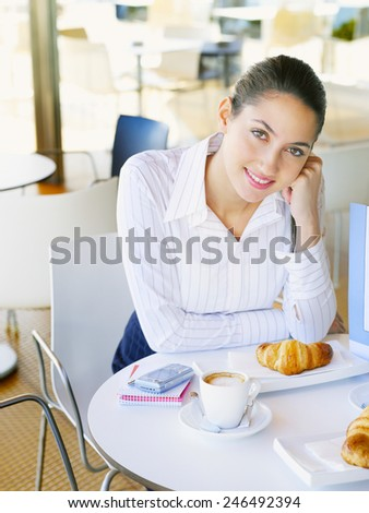 woman drinking coffee in the morning - stock photo
