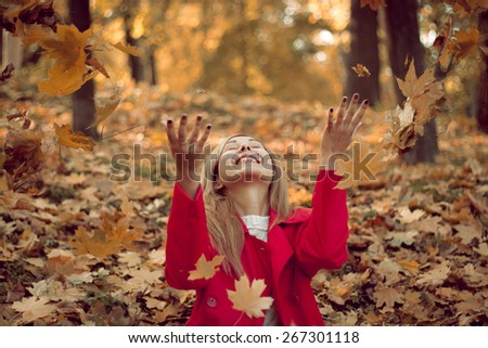 woman drop up leaves  woman fashion hand tree