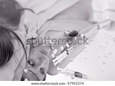 Woman drug addict. Black and white photo - stock photo